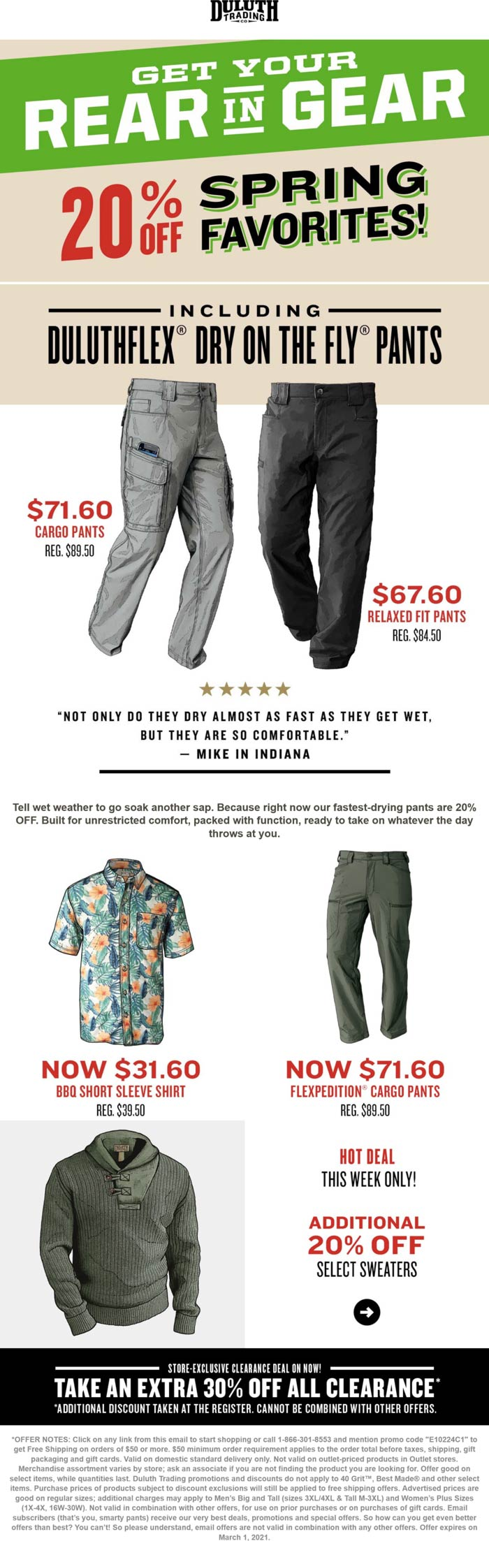 Duluth Trading stores Coupon  20% off Spring favorites at Duluth Trading Co via promo code E10224C1 #duluthtrading
