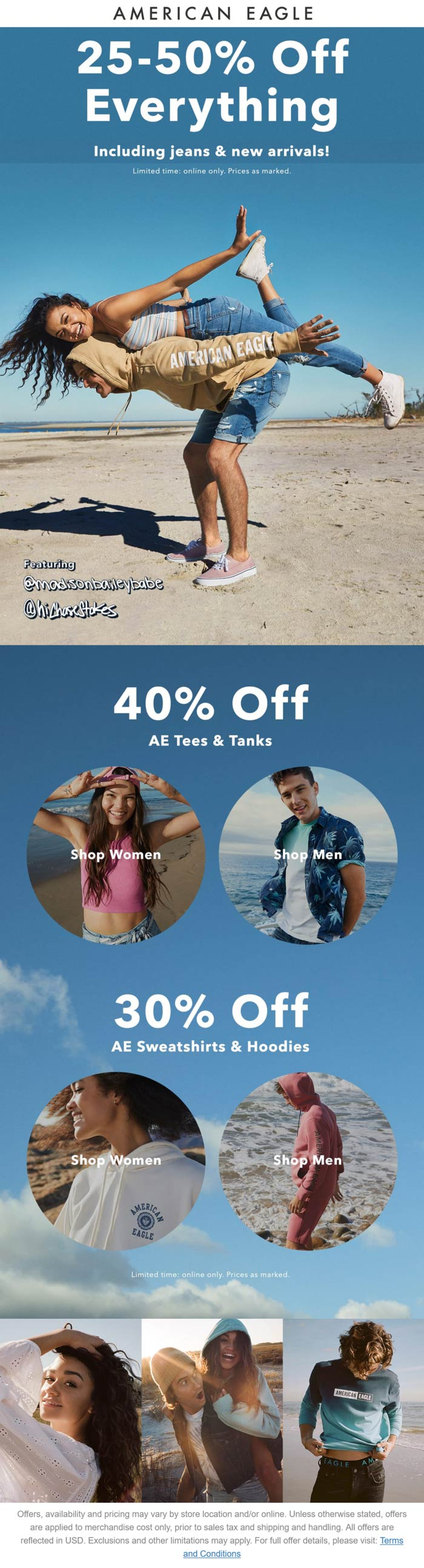 American Eagle stores Coupon  25-50% off everything online at American Eagle #americaneagle
