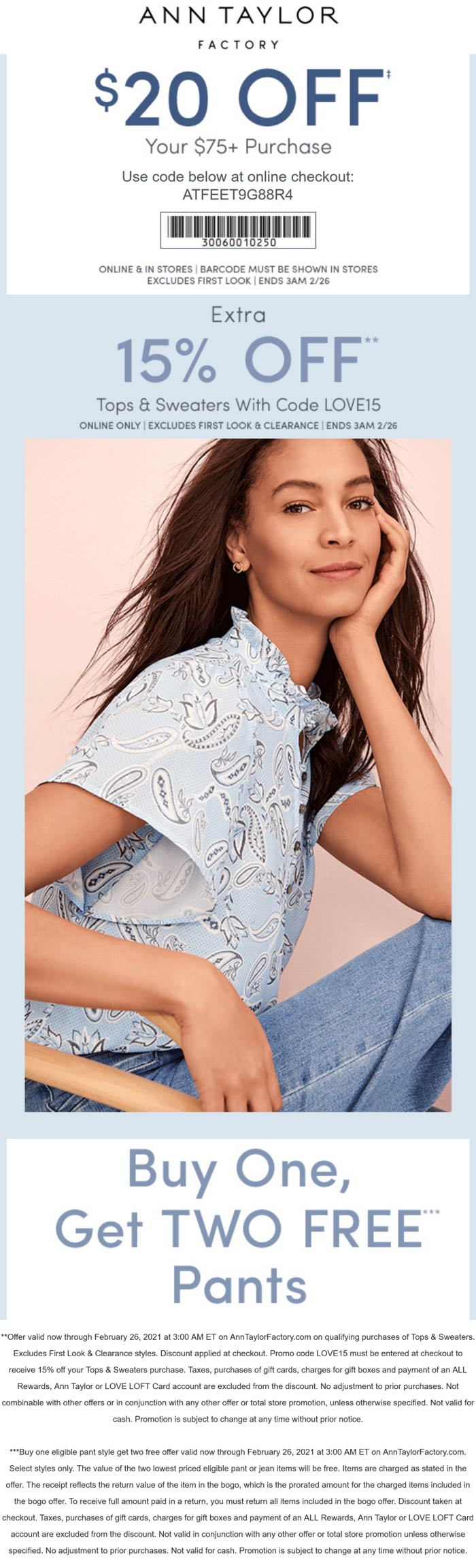 Ann Taylor Factory stores Coupon  $20 off $75 & more today at Ann Taylor Factory, or online via promo code ATFEET9G88R4 #anntaylorfactory