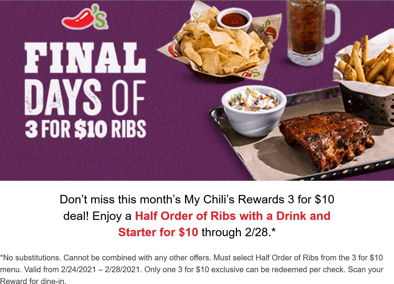 Chilis restaurants Coupon  Ribs + appetizer + drink = $10 at Chilis #chilis