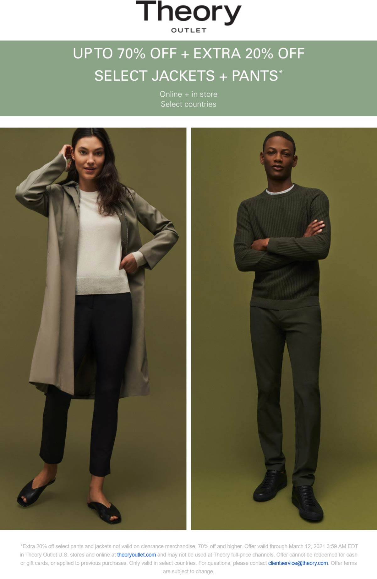 Theory Outlet stores Coupon  Extra 20% off pants and jackets & more at Theory Outlet, ditto online #theoryoutlet