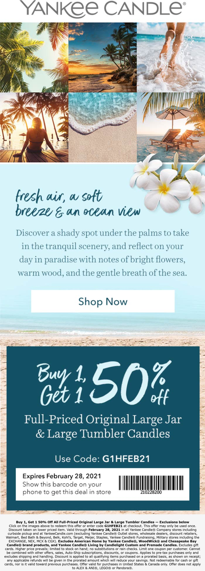 Yankee Candle stores Coupon  Second large tumbler 50% off at Yankee Candle, or online via promo code G1HFEB21 #yankeecandle