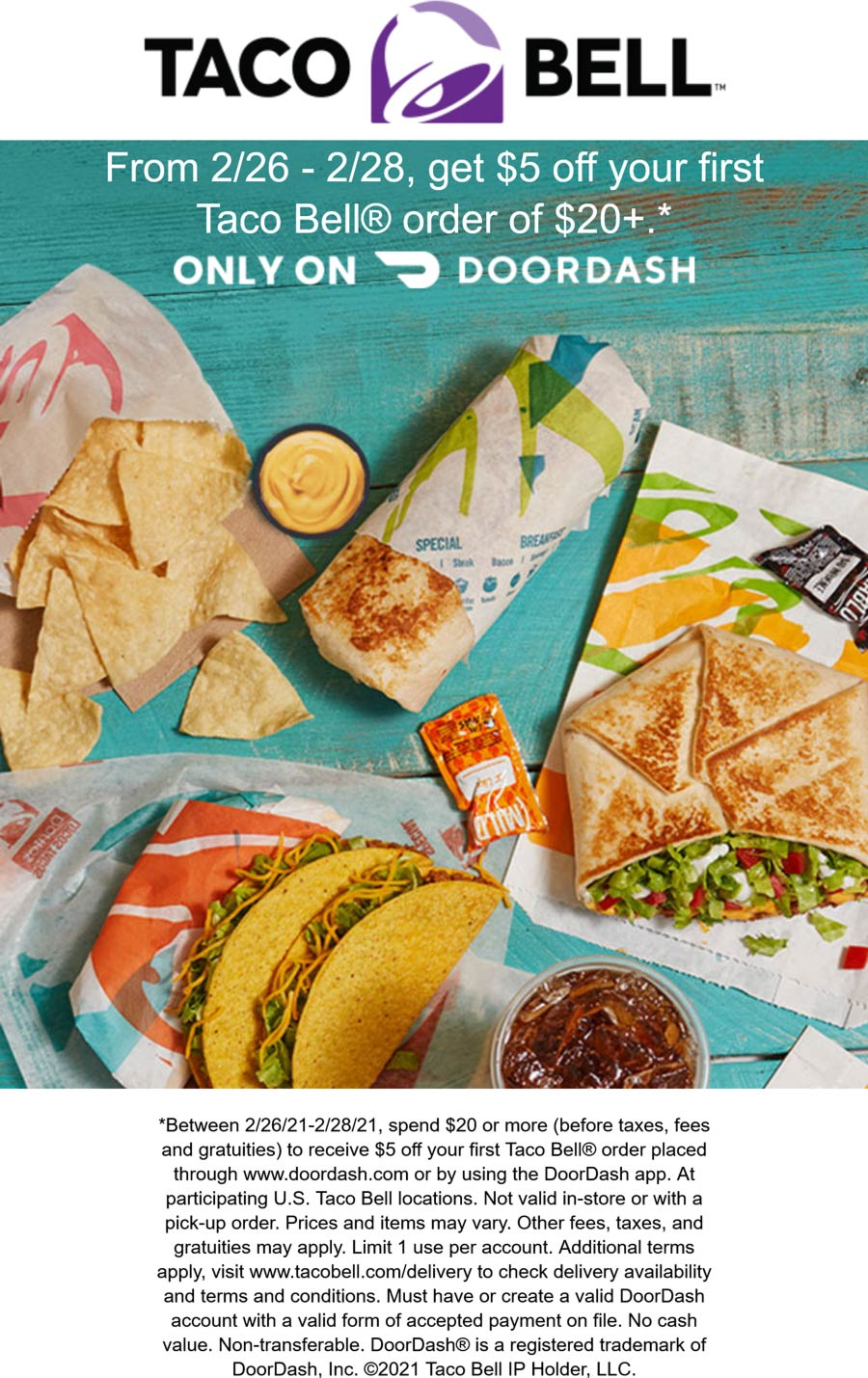 Taco Bell restaurants Coupon  $5 off $20 on first delivery from Taco Bell restaurants #tacobell