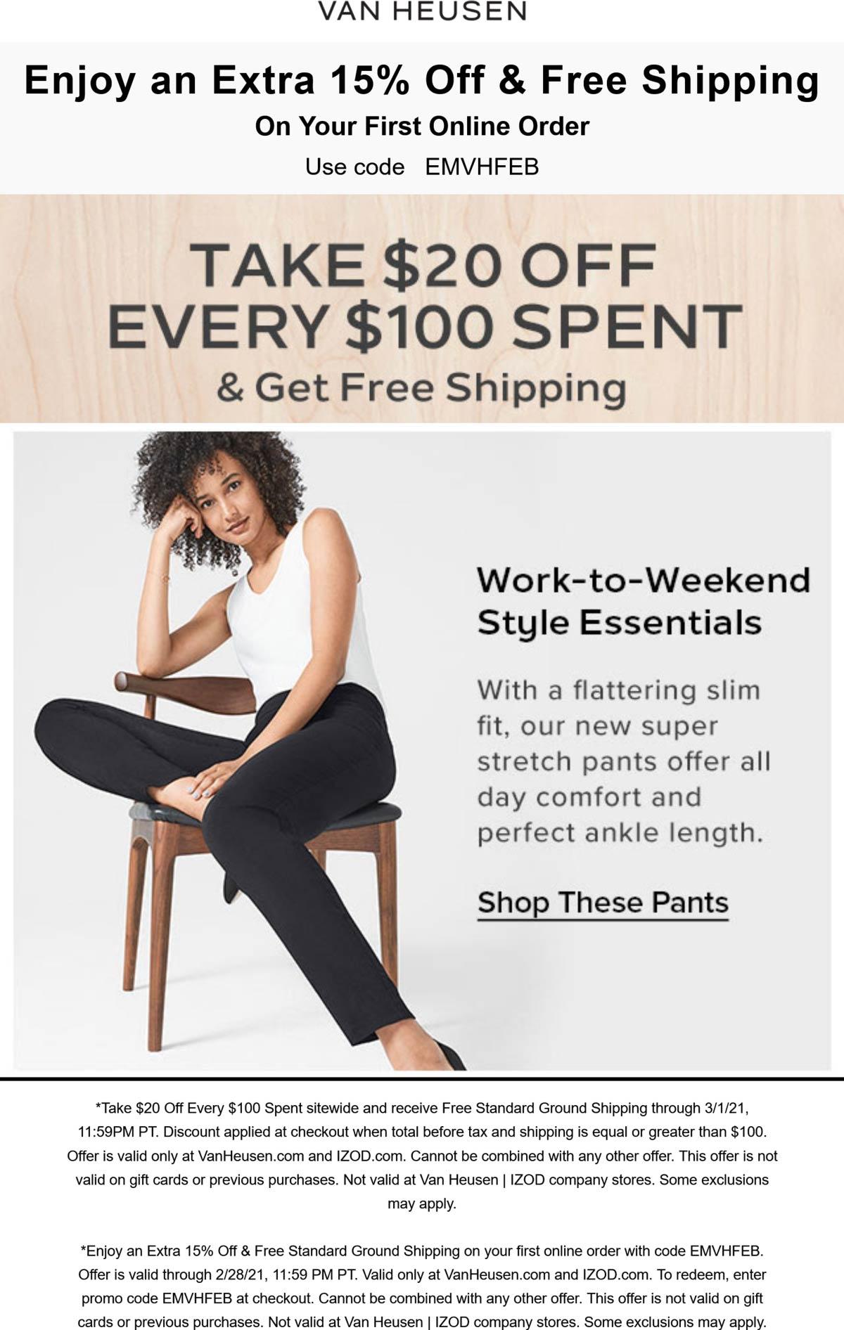 Van Heusen stores Coupon  $20 off every $100 online at IZOD & Van Heusen #vanheusen