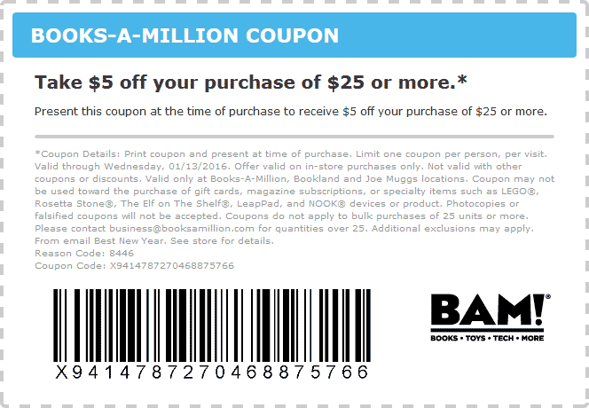 Books-A-Million Coupon February 2020 $5 off $25 at Books-A-Million
