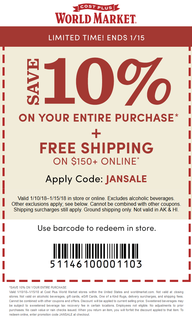 cost plus 10 off coupon