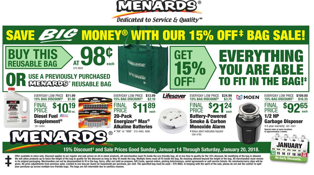 Menards Coupons - 15% off whatever fits in the bag at Menards