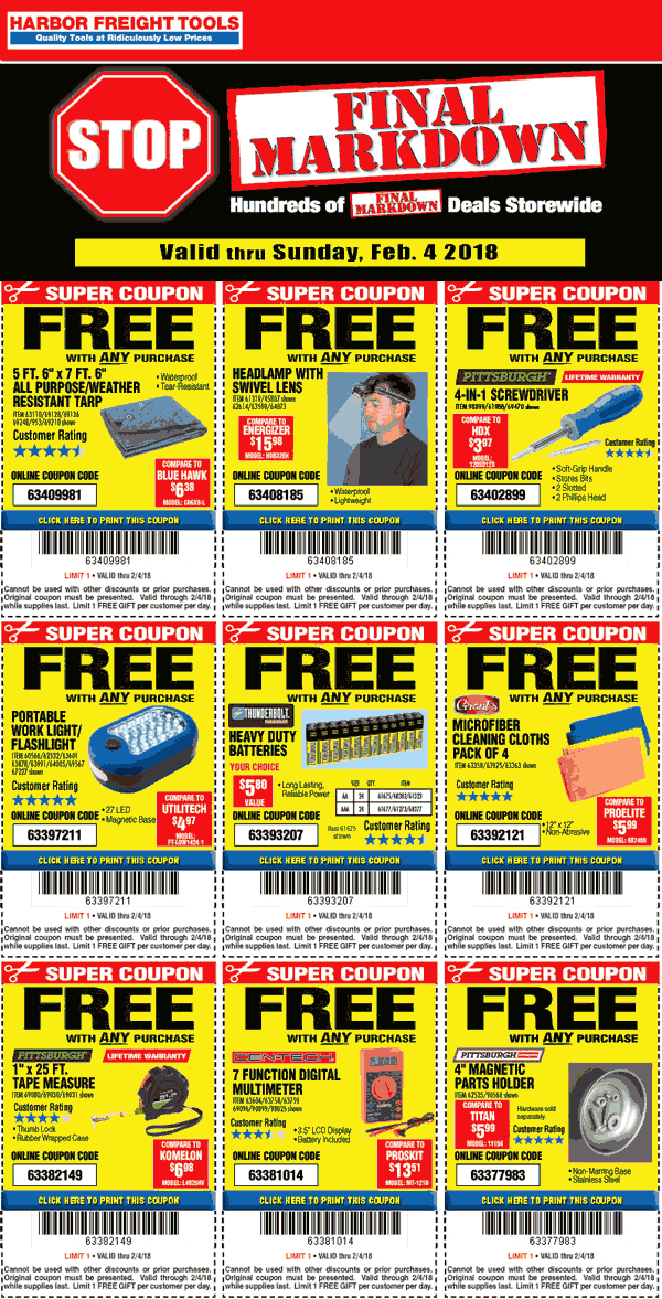 Harbor Freight Tools Coupons Various Free Items With