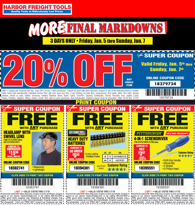 Harbor Freight Tools Coupons Free Headlamp Batteries