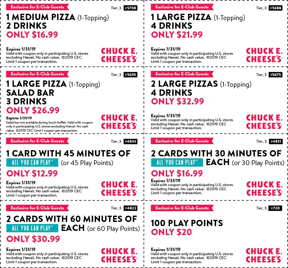 Chuck E. Cheese coupons & promo code for [April 2020]