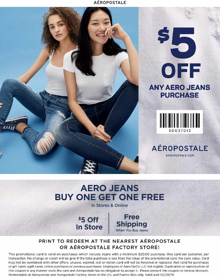 Aeropostale Coupon June 2020 $5 off jeans + second free at Aeropostale, ditto online (01/