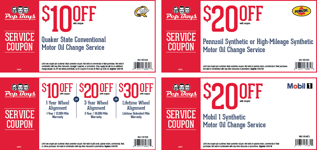 Pep Boys Coupon February 2020 $10 off an oil change & more at Pep Boys auto