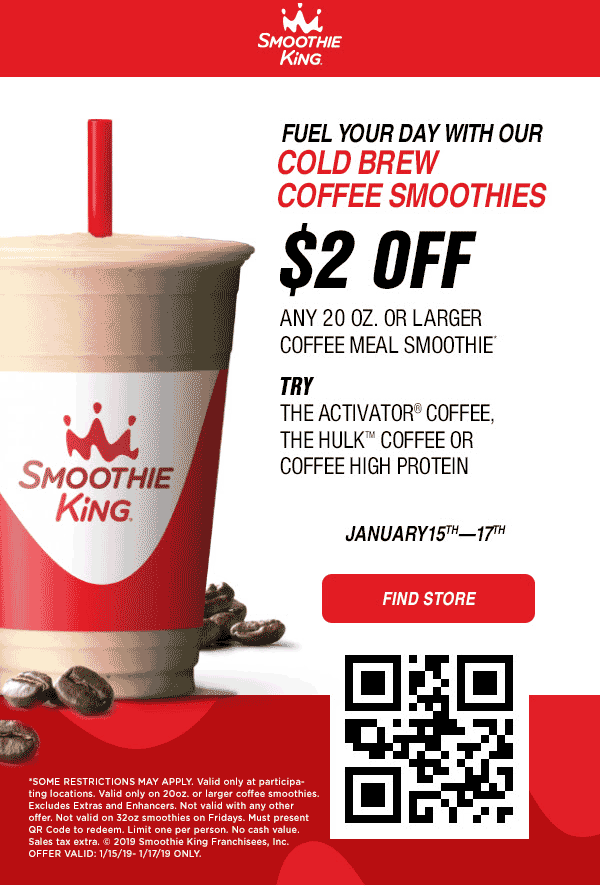 Smoothie King Coupon July 2020 $2 off a coffee smoothie at Smoothie King