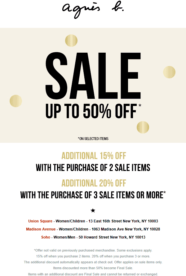 Agnes B Coupon February 2020 15-20% off at Agnes B, ditto online