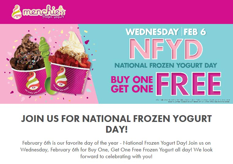 Menchies Coupon February 2020 Second frozen yogurt free the 6th at Menchies