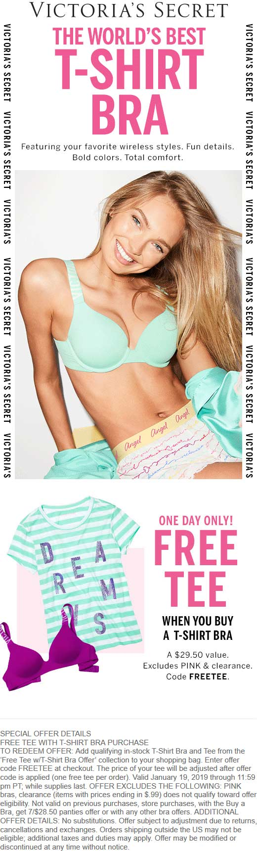 Victorias Secret Coupon February 2020 Free t-shirt with your bra today at Victorias Secret, or online via promo code FREETEE