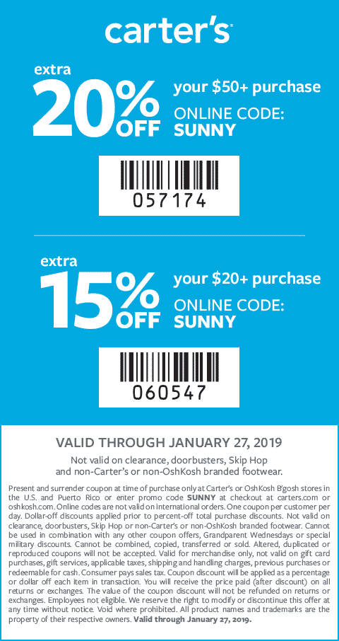 Carters Coupon February 2020 20% off $50 at Carters, or online via promo code SUNNY