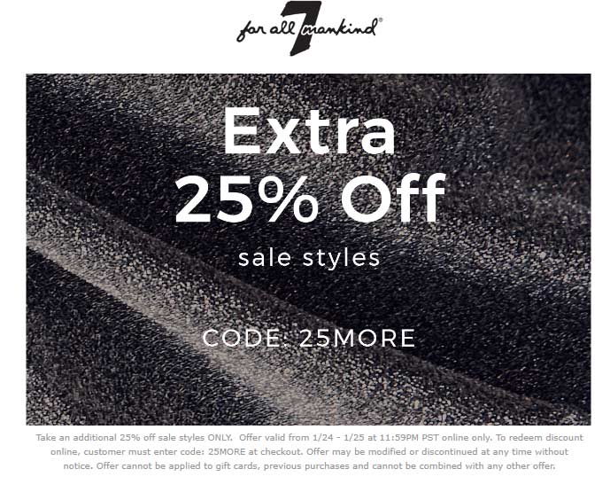 7 for all Mankind coupons & promo code for [January 2021]