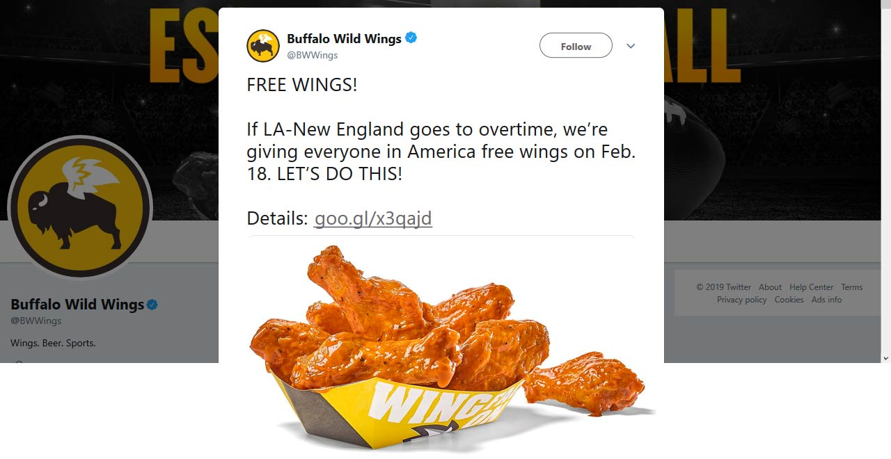 Buffalo Wild Wings Coupon February 2020 Overtime = free wings at Buffalo Wild Wings