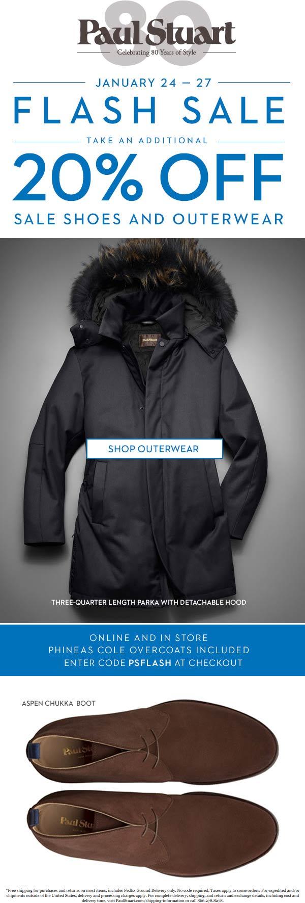 Paul Stuart Coupon June 2020 20% off outerwear at Paul Stuart, ditto online