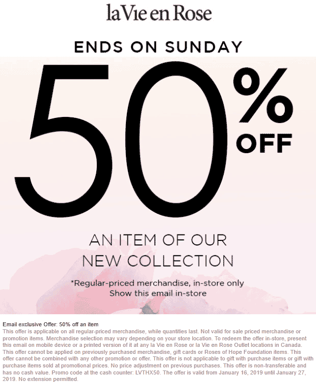 la Vie en Rose coupons & promo code for [April 2020]