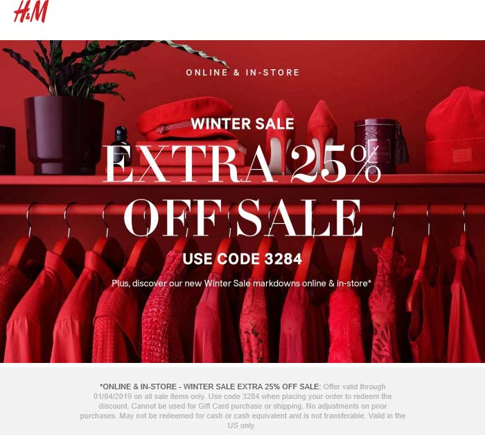 H&M Coupon July 2020 25% off today at H&M, or online via promo code 3284