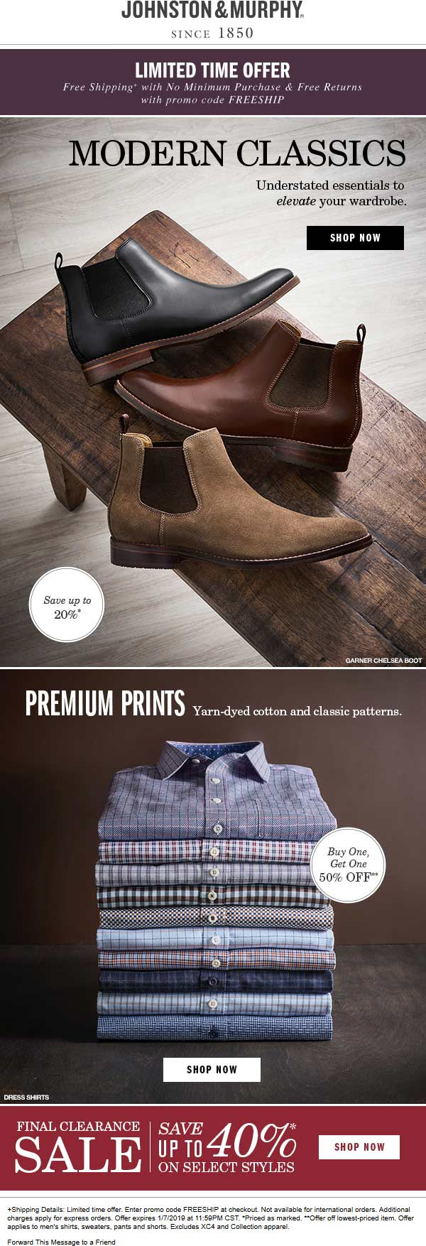 Johnston & Murphy Coupon August 2020 Second print shirt 50% off at Johnston & Murphy, or online with free shipping via promo code FREESHIP
