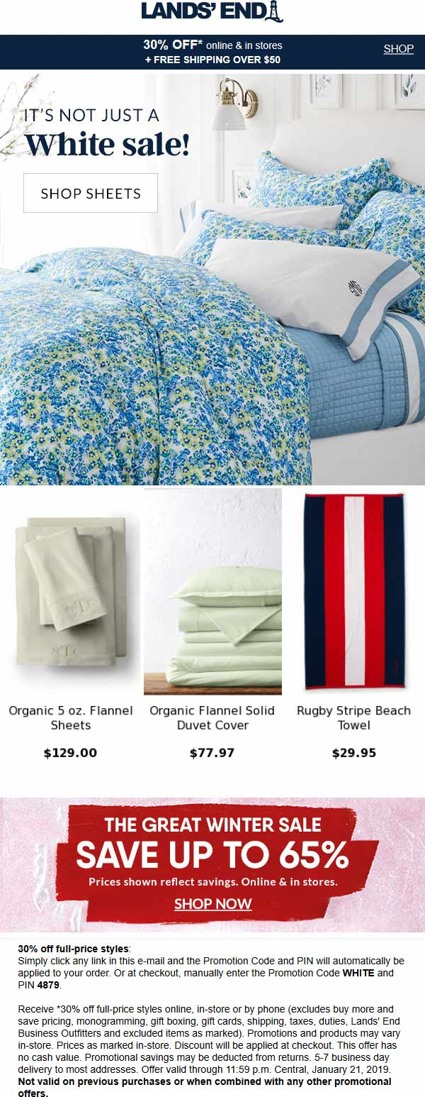 Lands End coupons & promo code for [April 2021]