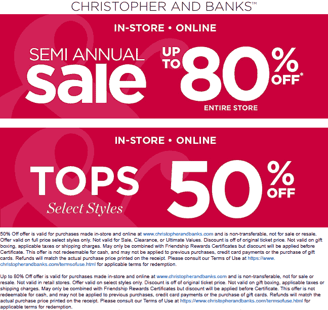 Christopher & Banks Coupon July 2020 50-80% off at Christopher & Banks, ditto online