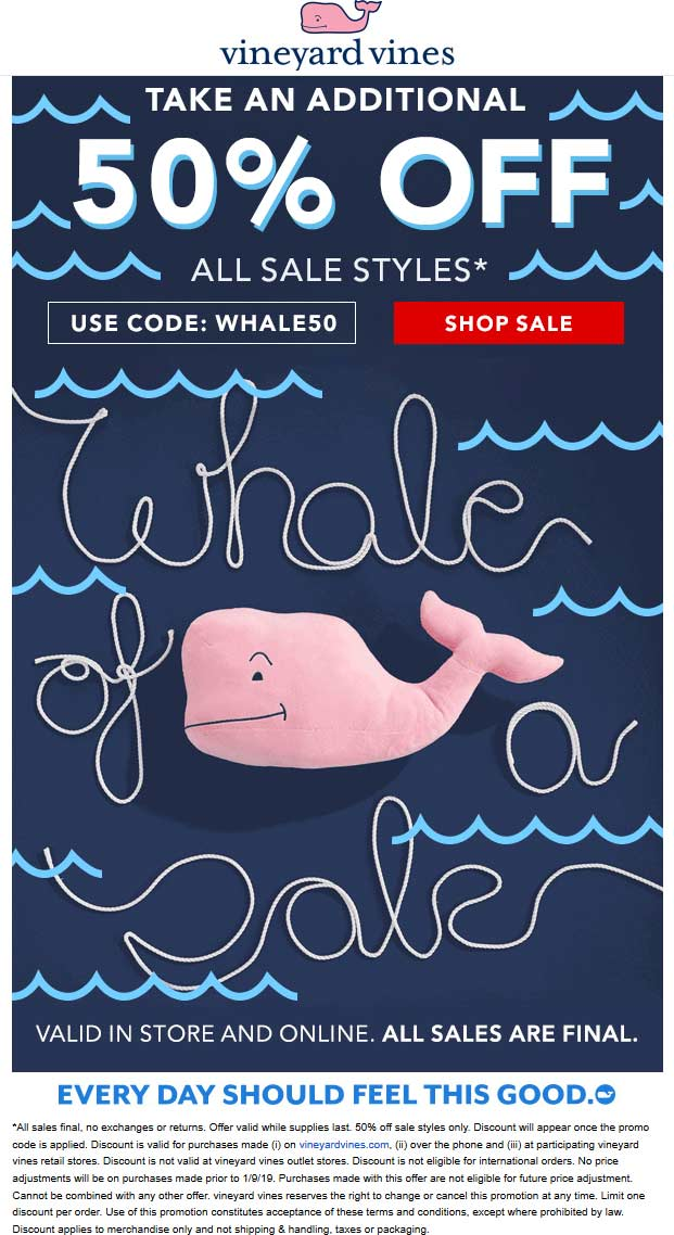 Vineyard Vines Coupon August 2020 Extra 50% off sale items at Vineyard Vines, or online via promo code WHALE50