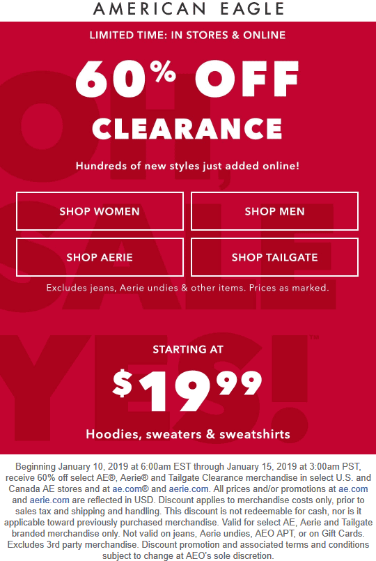 American Eagle Coupon July 2020 60% off clearance at American Eagle, ditto online