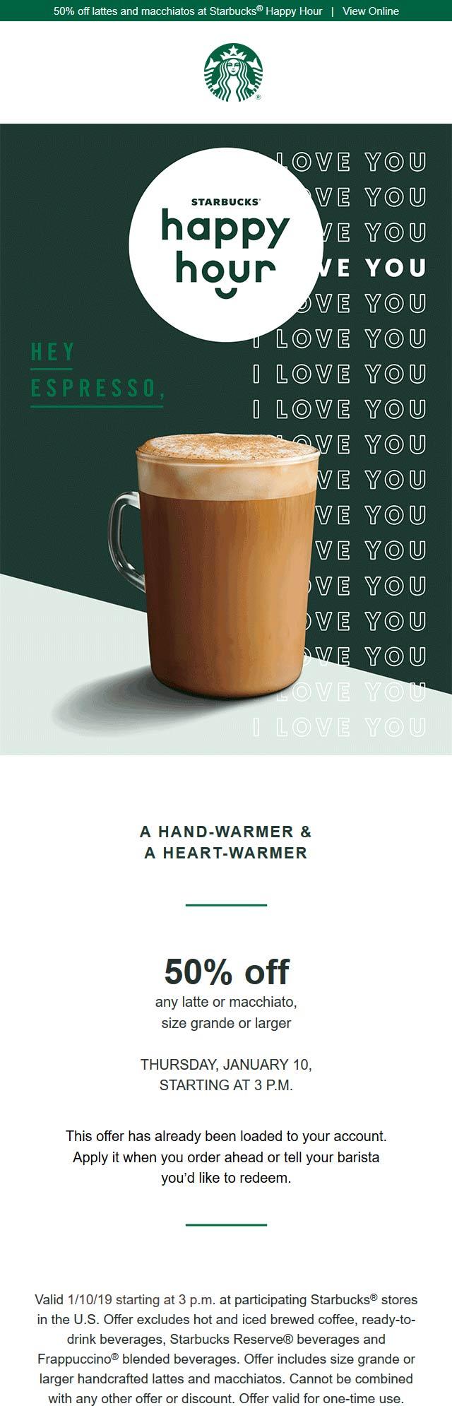 Starbucks Coupon July 2020 Reward members enjoy 50% off a latte or macchiato today at Starbucks