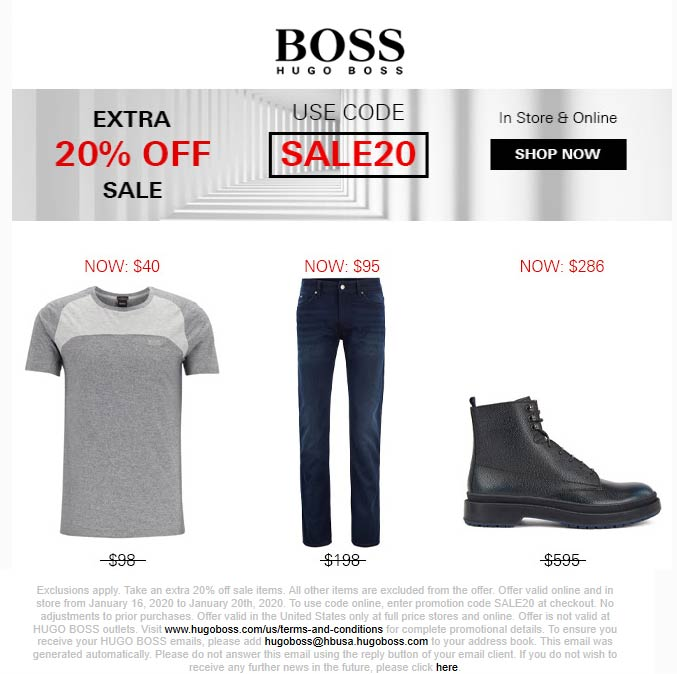 BOSS coupons & promo code for [January 2021]
