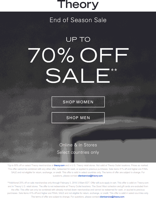 Theory coupons & promo code for [July 2020]