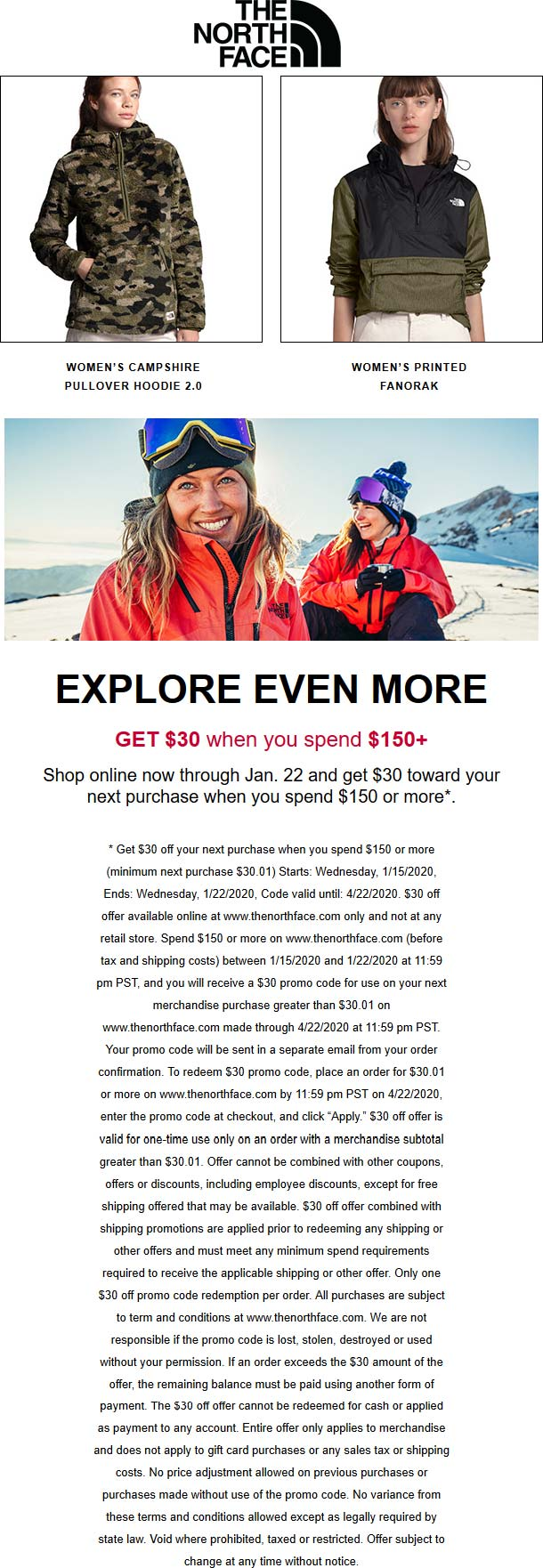 The North Face coupons & promo code for [April 2020]