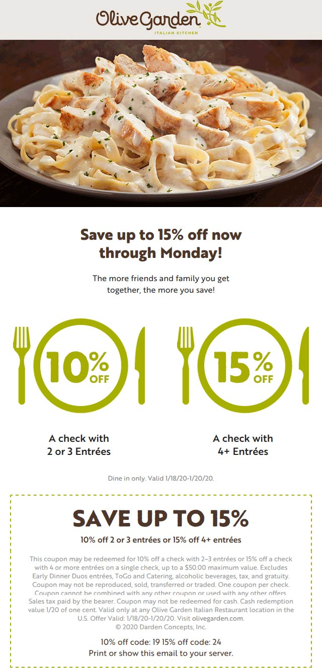 Olive Garden coupons & promo code for [February 2020]