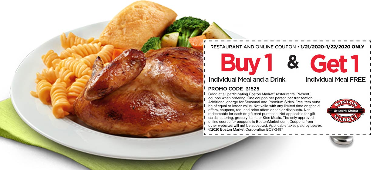 Boston Market coupons & promo code for [August 2021]