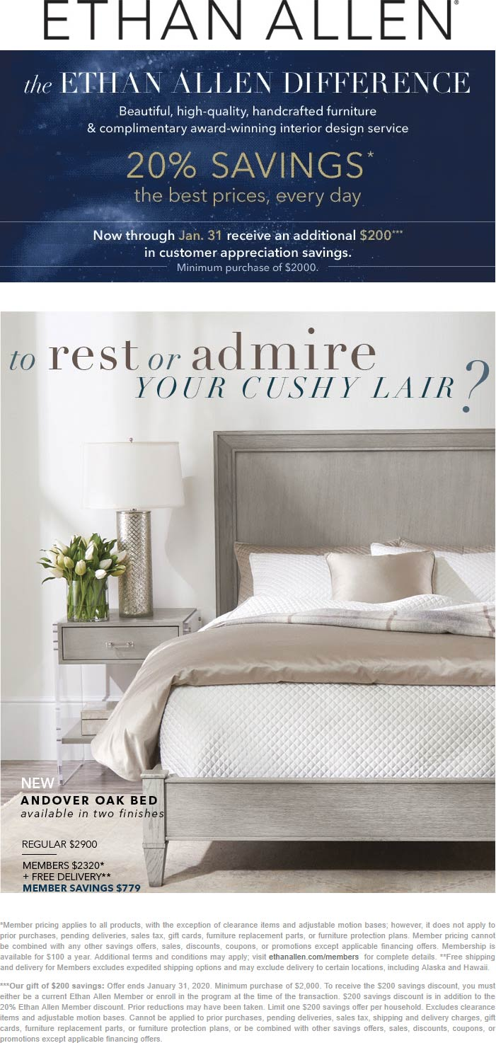 Ethan Allen coupons & promo code for [July 2020]
