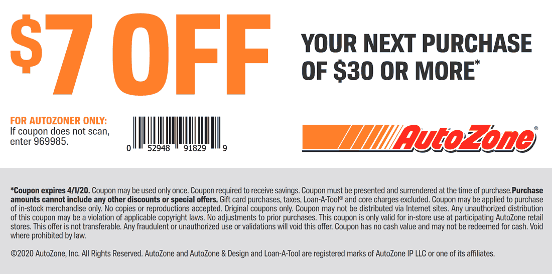 AutoZone coupons & promo code for [July 2020]