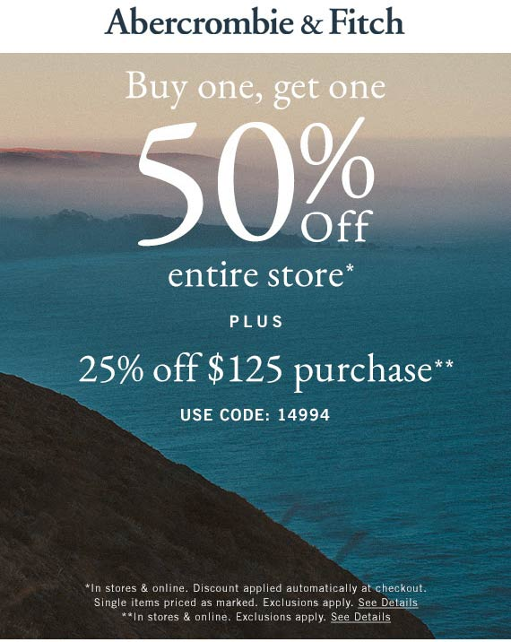 Abercrombie & Fitch coupons & promo code for [July 2020]