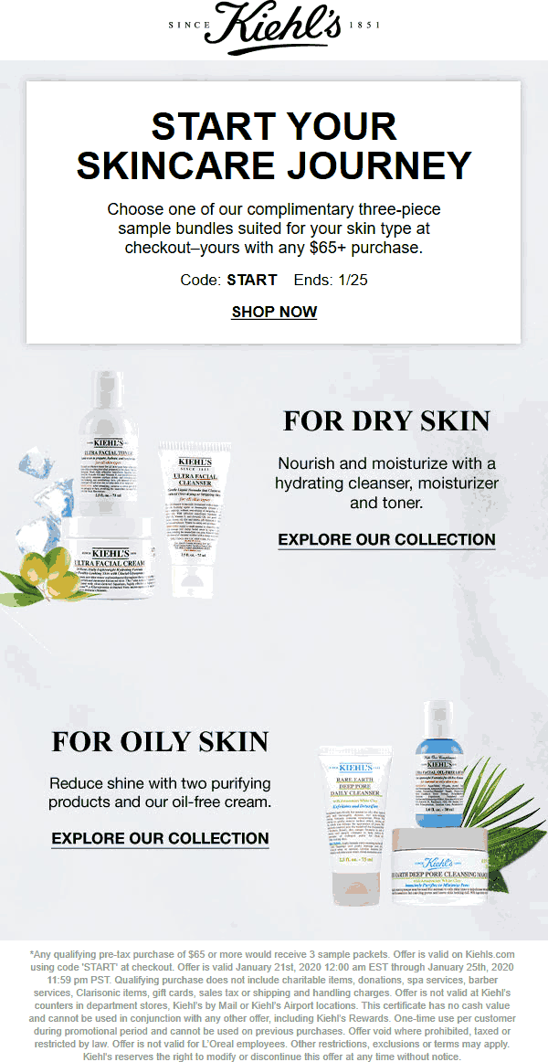 Kiehls coupons & promo code for [April 2020]