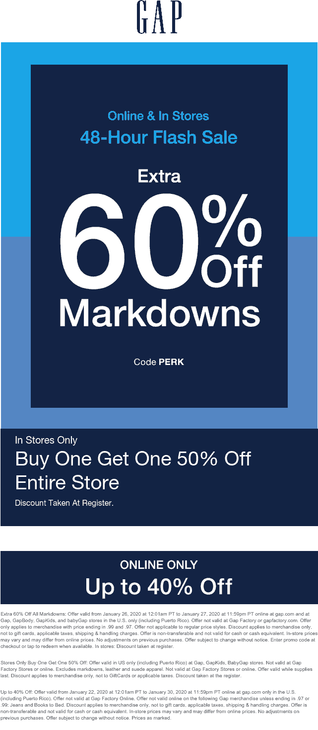 Gap coupons & promo code for [April 2020]