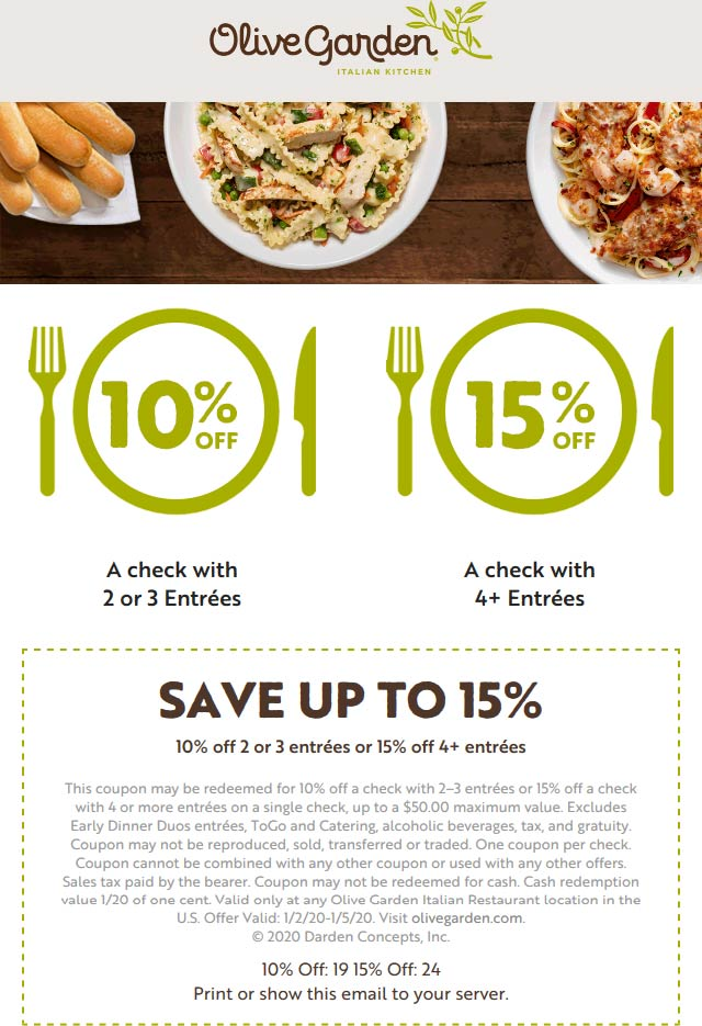 Olive Garden coupons & promo code for [July 2020]
