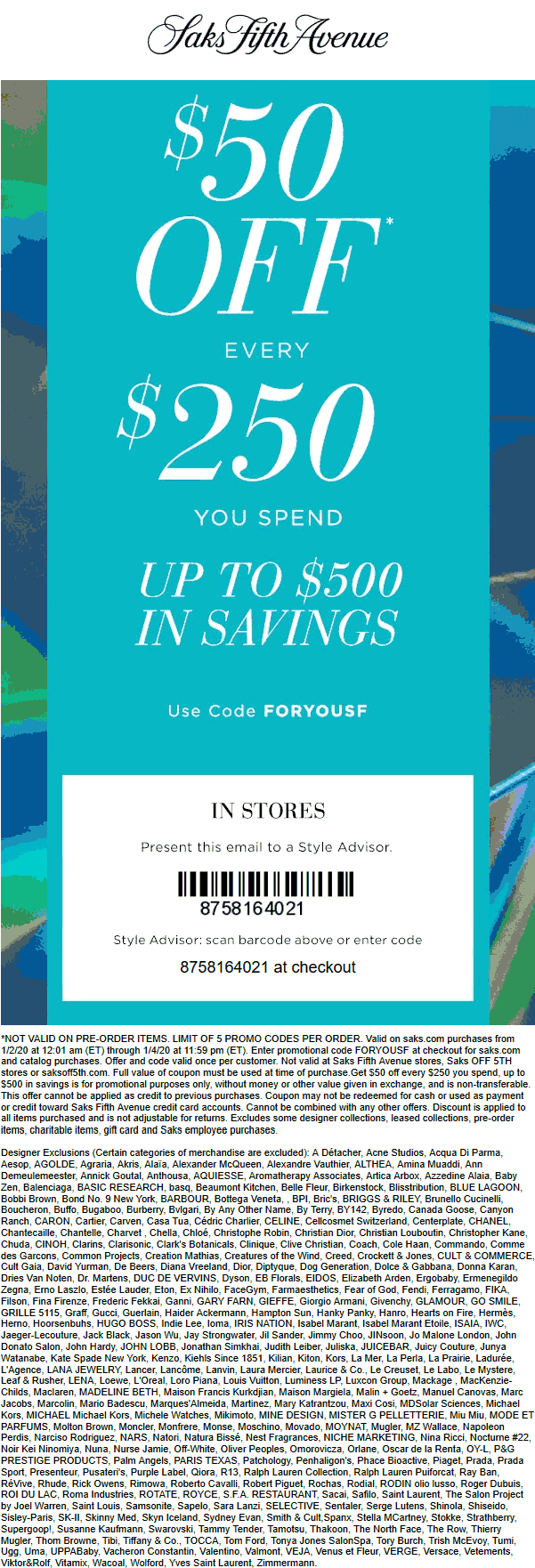 Saks Fifth Avenue coupons & promo code for [September 2020]