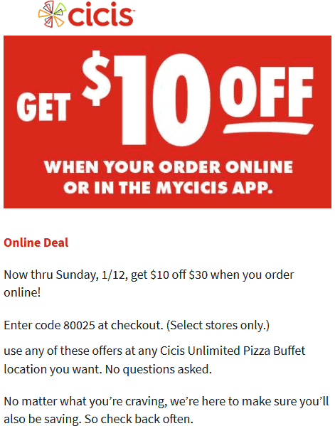 CiCis Pizza coupons & promo code for [October 2020]