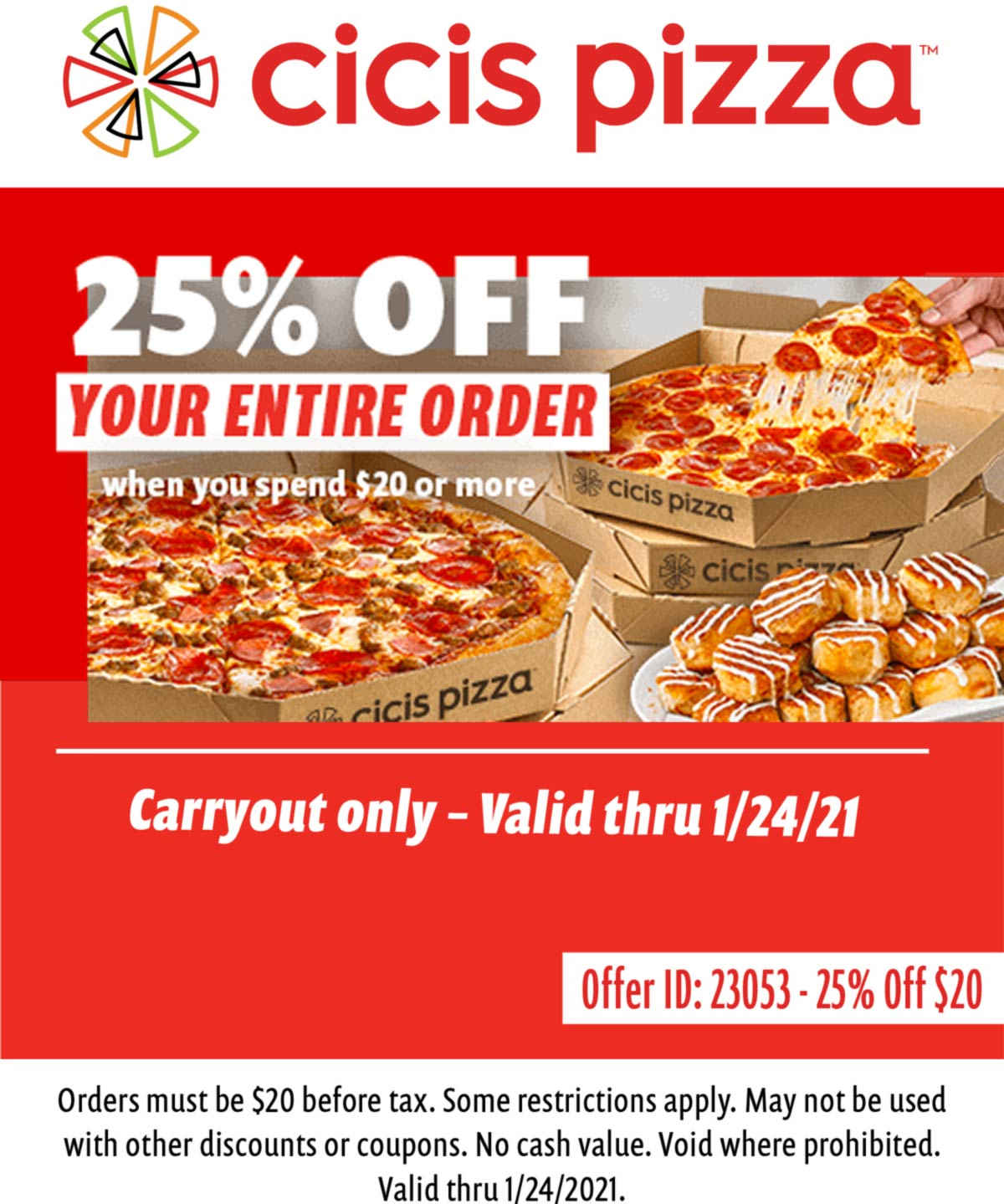 CiCis Pizza coupons & promo code for [January 2021]