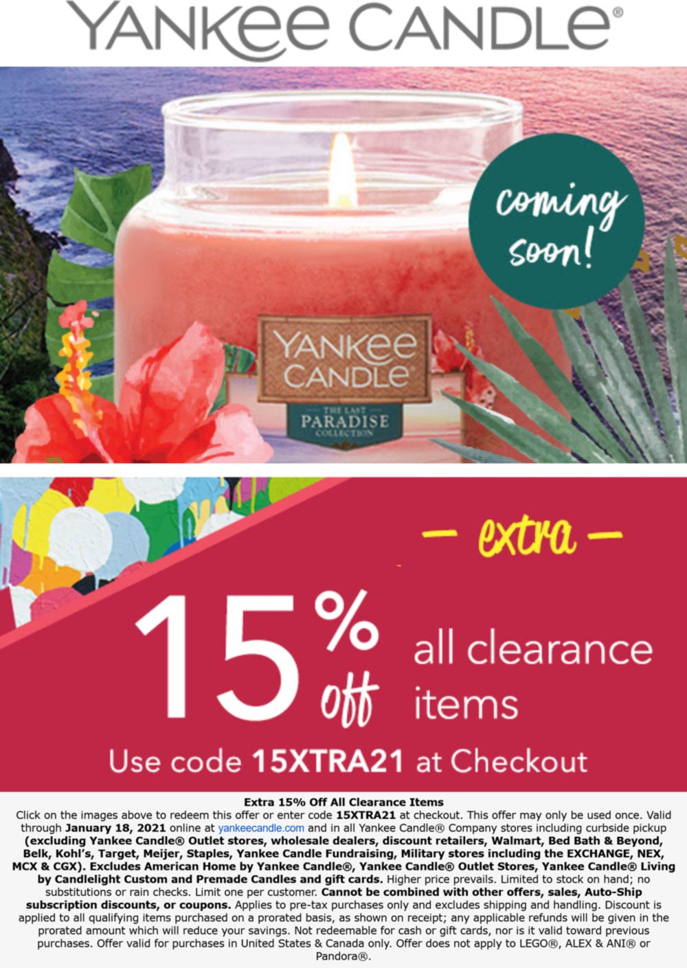 Yankee Candle stores Coupon  Extra 15% off clearance at Yankee Candle, or online via promo code 15XTRA21 #yankeecandle