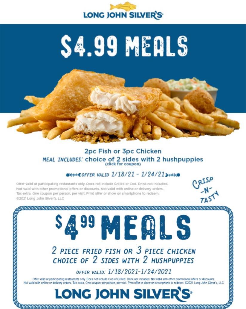 Long John Silvers restaurants Coupon  2pc fish or 3pc chicken + 2 sides + 2 hushpuppies = $5 at Long John Silvers #longjohnsilvers