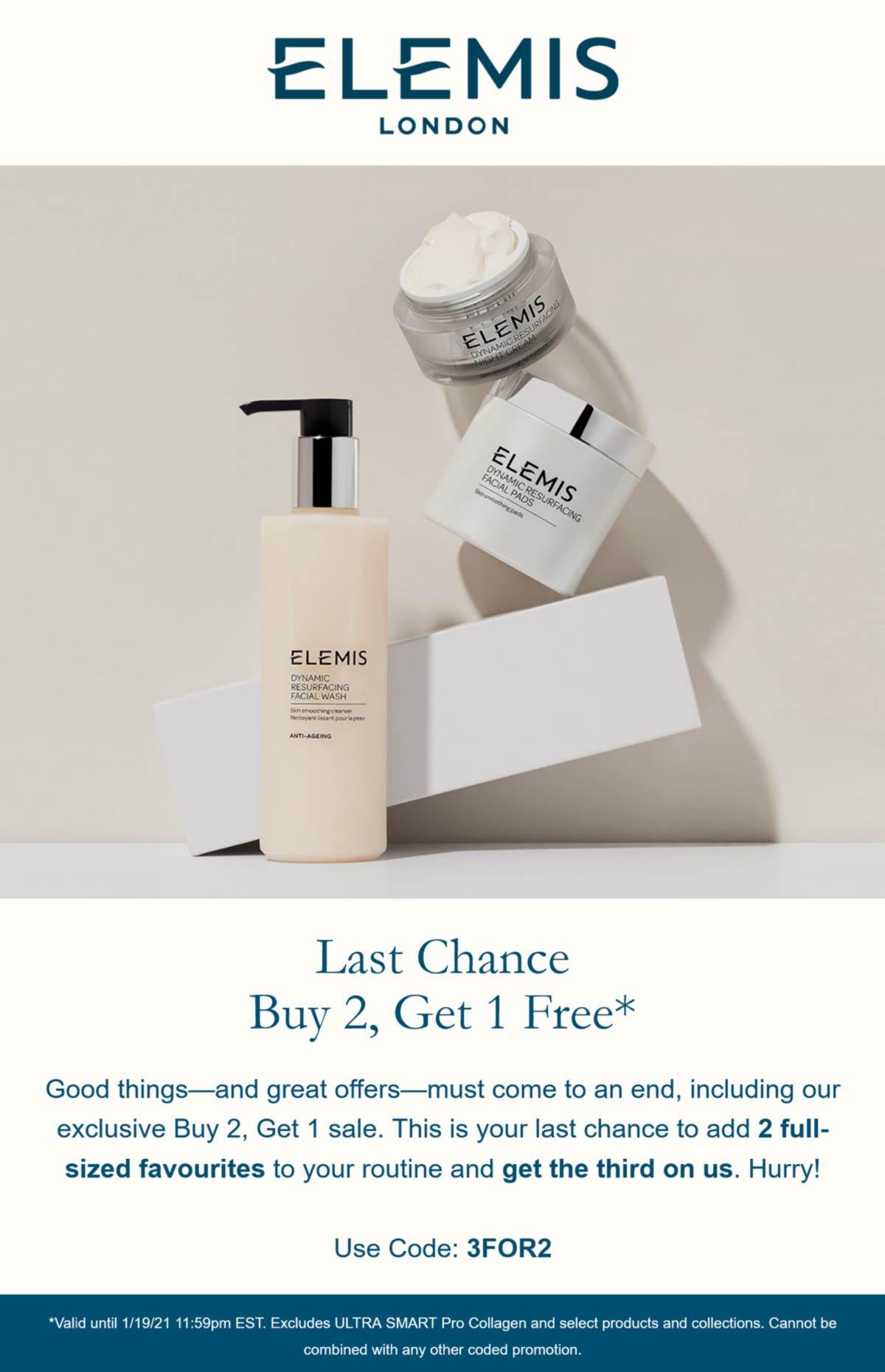 Elemis stores Coupon  3rd item free today at Elemis cosmetics via promo code 3FOR2 #elemis