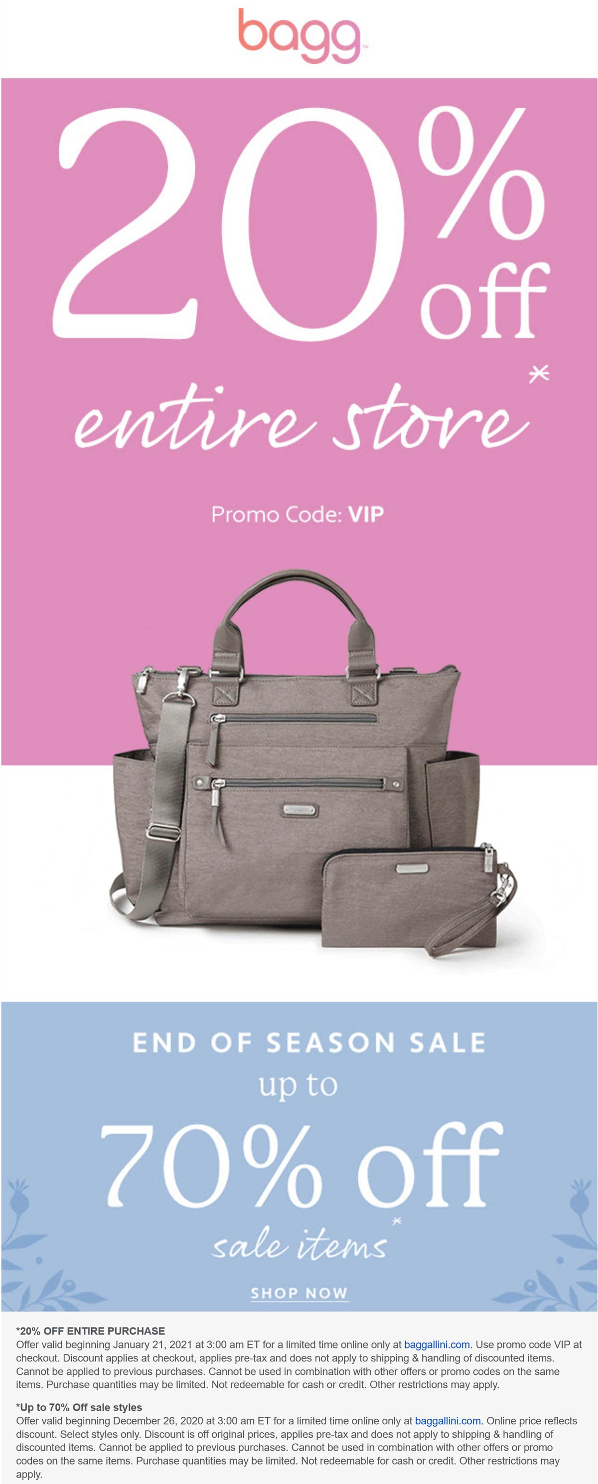 Baggallini stores Coupon  20% off everything at Baggallini via promo code VIP #baggallini